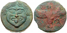 Skythia, Olbia. Cast Æ (70mm, 102.06 g), ca. 437-410 BC. Arix…, magistrate. Facing gorgoneion. Reverse: Sea eagle flying right, wings spr...