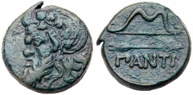 Cimmerian Bosporos, Pantikapaion. Æ (13.48 g), ca. 340-325 BC. Wreathed and bearded head of satyr left. Reverse: ΠANTI, bow and arrow. MacDon...