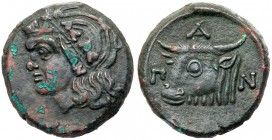 Cimmerian Bosporos, Pantikapaion. Æ (16.68 g), ca. 325-310 BC. Wreathed head of Pan left. Reverse: Π-A-N, bull's head left. MacDonald 65; Ano...