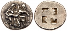 Thracian Islands, Thasos, Silver Stater (8.70 g), 500-480 BC. Satyr advancing right, in kneeling-running position, carrying a protesting nymph in his ...