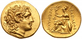 Thracian Kingdom. Lysimachos. Gold Stater (8.38 g), as King, 306-281 BC. Uncertain mint, early posthumous issue, after 281 BC. Diademed head of deifie...