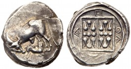 Illria, Apollonia. AR Stater (11.18g), ca. 340-280 BC. Cow standing to left, turning her head back to right to lick calf suckling to right. Rev. A-&Pi...