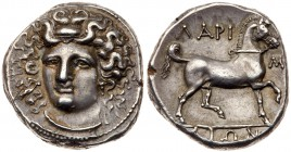 Thessaly, Larissa, Silver Stater (12.25 g, 6h), 356-342 BC. Head of nymph Larissa facing, slightly inclined to left, her hair bound with an ampyx. Rev...