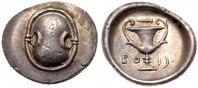 Boeotia, Federal Coinage, Silver Hemidrachm (2.70 g, 12h), 395-340 BC. Boeotian shield. Rev. Kantharos, above, club right, BO-I and vertical crescent ...