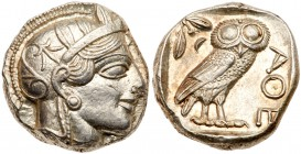 Attica, Athens. Silver Tetradrachm (17.20 g), ca. 454-404 BC. Helmeted head of Athena right, frontal eye. Rev. AΘE, owl standing right, head fac...