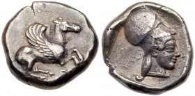 Corinthia, Corinth. Silver Stater (8.35 g), ca. 480-465 BC. Koppa below, Pegasos flying right. Rev. Head of Athena right, wearing Corinthian helmet, w...