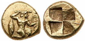 Mysia, Kyzikos. Electrum Hekte (2.71 g), ca. 500-450 BC. Herakles in kneeling-running stance right, holding club overhead and bow; to left, tunny. Rev...