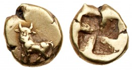 Mysia, Kyzikos. Electrum 1/24 Stater (0.63 g), ca. 500-450 BC. Man-headed bull standing left on tunny (off flan). Reverse: Quadripartite incuse square...