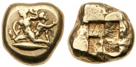 Mysia, Kyzikos., 450-400 BC. Electrum Stater (15.98 g). Herakles and his younger brother, Iphicles, both naked, being attacked by serpents. Herakles i...