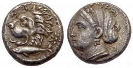 Mysia, Kyzikos. Silver Drachm (3.20 g), ca. 390-341/0 BC. ΣΩTEIPA, head of Kore Soteira left, hair bound in sphendone. Reverse: KY-[ZI], h...