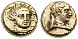 Lesbos, Mytilene. Electrum Hekte (2.49 g), ca. 377-326 BC. Head of Athena facing slightly right, wearing triple-crested helmet. Rev. Head of Hermes ri...