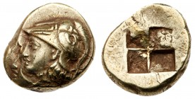 Ionia, Phokaia. Electrum Hekte (2.50 g), ca. 387-326 BC. Head of Athena to left, wearing crested Corinthian helmet decorated with serpent; below, [sea...