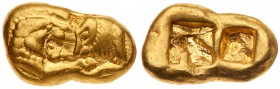 Kingdom of Lydia, Cyrus - Darios I, Gold Stater, Light Standard (8.06 g), 545-520 BC. Mint of Sardes. Confronted foreparts of a roaring lion and a bul...