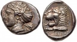 Caria, Knidos. Silver Tetradrachm (15.05 g), ca. 395-380 BC. Kleosthenes, magistrate. [K]-N[I], Head of Aphrodite left, hair in ampyx and sphendone; b...