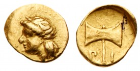 Carian Satraps. Pixodaros. Gold 1/24 Stater (0.34 g), ca. 341/0-336/5 BC. Halikarnassos. Laureate head of Apollo left. Rev. Labrys; Π-I flanking ha...
