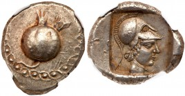 Pamphylia, Side. Silver Stater (10.88 g), ca. 460-430 BC. Pomegranate; to upper right, forepart of lion left. Rev. Helmeted head of Athena right withi...