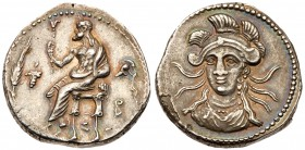 Cilicia, Soloi. Balakros. Silver Stater (10.90 g), Satrap, 333-323 BC. Baaltars seated left, holding scepter; grain ear and grapes to left, below thro...