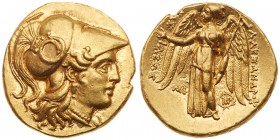Seleukid Kingdom. Seleukos I Nikator. Gold Stater (8.56 g), 312-281 BC. Babylon (I), in the name of Alexander III of Macedonia, ca. 311-300 BC. Head o...