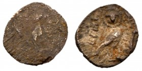 Judaea, Yehud (Judah). Hezekiah. Silver 1/4 Ma'ah Obol (0.18 g), ca. 333/2-302/1 BCE. Indistinct, but probably a facing head within circular border. R...
