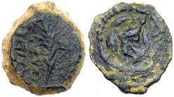 Judaea, Hasmonean Kingdom. John Hyrcanus I (Yehohanan). Æ 1/2 Prutah (1.15 g), 134-104 BCE. Jerusalem. 'Yehohanan the High Priest and the Counci...