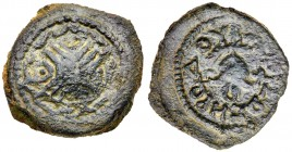 Judaea, Herodian Kingdom. Herod I. Æ 4 Prutot (4.96 g), 40 BCE-4 CE. Uncertain mint in Samaria, RY 3 (40/39 or 38/7 BCE). Shield with decorated ...