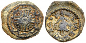 Judaea, Herodian Kingdom. Herod I. Æ 4 Prutot (4.21 g), 40 BCE-4 CE. Uncertain mint in Samaria, RY 3 (40/39 or 38/7 BCE). Shield with decorated ...