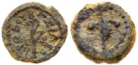 Judaea, Herodian Kingdom. Herod I. Æ Prutah (2.59 g), 40-4 BCE. Uncertain mint in Samaria, RY 3(38/7 BCE). Palm branch with objects (leaves?) to...