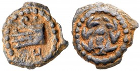 Judaea, Herodian Kingdom. Herod II Archelaus. Æ 1/2 Prutah (1.09 g), 4 BCE-6 CE. Jerusalem. HPW around, prow of galley left. Rev. EΘN with...