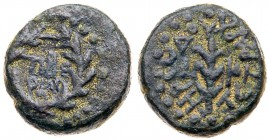 Judaea, Herodian Kingdom. Herod III Antipas. Æ Quarter (4.43 g), 4 BCE-39 CE. Tiberias, RY 24 (20/1 CE). [TIBE/PIAC] in two lines within wreath....