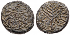 Judaea, Herodian Kingdom. Herod III Antipas. Æ Half (5.03 g), 4 BCE-39 CE. Tiberias, RY 33 (29/30 CE). TIBE/PIAC in two lines within wreath. Rev...