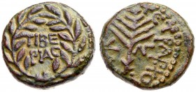 Judaea, Herodian Kingdom. Herod III Antipas. Æ Half (6.83 g), 4 BCE-39 CE. Tiberias, RY 33 (29/30 CE). TIBE/PIAC in two lines within wreath. Rev...