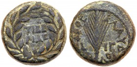 Judaea, Herodian Kingdom. Agrippa II. Æ Full (12.34 g), 56-95 CE. Tiberias, RY 13 of Claudius (53/4 CE). TIBE/PIAC in two lines within wreath. R...