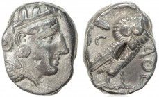 ATHENS: ca. 393-300 BC, AR tetradrachm (16.95g), S-2537, head of Athena, eye in true profile, wearing crested helmet // owl, with olive twig & crescen...