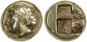 IONIA: Phocaea, ca. 387-326 BC, EL hecte (1/6 stater) (2.53g), Bodenstedt-102, laureate female head left, back of hair contained in a saccos // quadri...