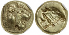 LESBOS: Mytilene, ca. 521-478 BC, EL hecte (1/6 stater) (2.52g), Bodenstedt-13, head of roaring lion right // incuse head of calf right, rectangular p...