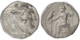MACEDONIAN KINGDOM: Alexander III, the Great, 336-323 BC, AR tetradrachm (16.81g), S-6713 ff, head of Herakles, wearing lion skin // Zeus seated, hold...