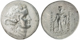 THASOS: after 148 BC, AR tetradrachm (16.83g), S-1759, head of young Dionysos, wreathed with ivy // Herakles, naked, holding club, lion's skin over le...
