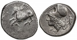 THOURIOI: ca. 350-306 BC, AR stater (8.53g), S-2629var, Pegasos left // head of Athena, wearing Corintian helmet, standing figure behind, letter Δ in ...