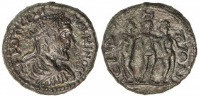 ROMAN EMPIRE: Macrinus, 217-218 AD, AE 25 (9.53g), ND, Wildwinds—, Pamphylia, Side; the three Graces type, VF-EF, R.