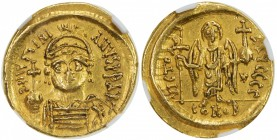 BYZANTINE EMPIRE: Justinian I, 527-565, AV solidus (4.43g), Carthage, S-139, standard type: facing bust // angel standing, holding globus cruciger & p...