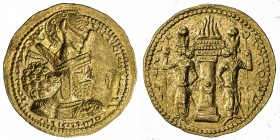 SASANIAN KINGDOM: Shapur I, 242-271, AV dinar (7.31g), G-21var, SNS type IIc/2b, standard obverse bust right // fire-altar, flanked by two attendants,...