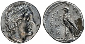 PTOLEMAIS: Ptolemy II, 285-246 BC, AR tetradrachm (14.28g), S-7771, diademed head // eagle on fulmen, initials EY KΛ A, one adhesion on reverse, VF.
