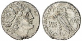 PTOLEMAIS: Ptolemy XII Neos Dionysos, 116-106 and 88-80 BC, AR tetradrachm (13.78g), year 15, S-7940, diademed head // eagle on fulmen, flan defect on...