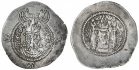 "TOKHARISTAN: Yabghus of Baktria, 6th century, AR drachm (3.92g), G-265A, Sasanian bust right, wearing Nezak-style crown, unread ""Pahlavi"" legend to le..."