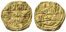 KHAZRUNID: Muhammad b. ??, first half of the 11th century, AV dinar (2.74g), NM, ND, A-—, citing the deceased caliph Hisham and the deceased vizier 'Â...