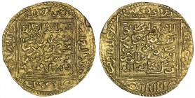 MERINID: Abu Zayd 'Abd al-Rahman, 1374-1382, AV dinar (4.63g), NM, ND, A-537, H-831var, generally as Haz-831, but with different central legend on obv...