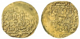 GHORID: Mahmud b. Muhammad, 1206-1212, AV broad dinar (5.42g), MM, AH603, A-1783.1, square-in-circle design on both sides, about 20% flat strike, VF, ...