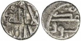 GOVERNORS OF SIND: Anonymous, ca. 752-758, AR damma (0.39g), NM, ND, A-R1493A, obverse la illah illa Allah with the identical calligraphy of type A-R1...
