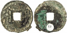 WARRING STATES: State of Qi, 300-220 BC, AE cash (9.98g), H-6.25, yi liu hua ([City of] Yi, [value] six hua) in archaic script, Fine, ex Jiùjinshan Co...