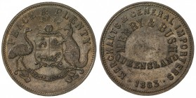 AUSTRALIA: AE penny token, 1863, KM-Tn165, Renniks-357, Andrews-364, Merry & Bush, Brisbane, Queensland, listed as R4 by Rennik, brown with a few tiny...